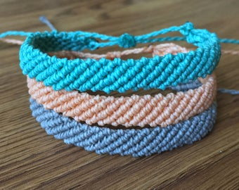 Flat Braided Friendship Bracelet - Waxed Polyester Friendship Bracelet - Custom - Pura Vida Inspired Bracelet