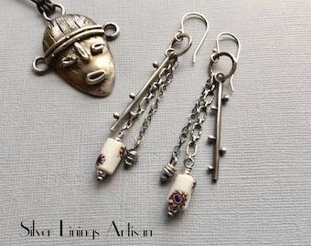 African Trade Bead, Bear Claw, Tribal Earrings, Sterling Silver, Metalsmith, Artisan Earrings, Dangle Earrings, Drop Earrings
