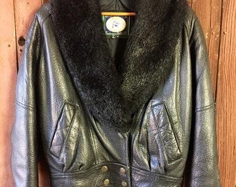 Beautiful Black Grain Leather Jacket w/ Faux Fur Collar