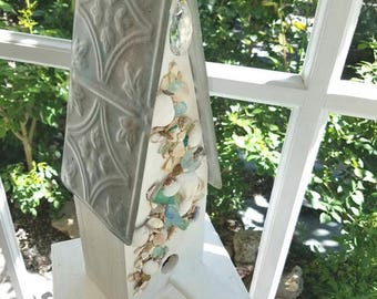 Shell Shabby Chic Cottage Birdhouse, Tin Roof, Handcrafted