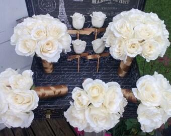 Ivory Rose Gold Wedding Bouquet 17 Piece Flower Set, Ivory Gold Wedding, Ivory Bouquet, Ivory Rose Bouquet, Real Touch Bouquet Ivory Flowers