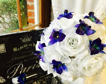 Blue Orchid & White Rose Wedding Bouquet with Boutonniere, Blue Orchid Bouquet, White Blue Bouquet, White Royal Blue Bouquet, Rose Orchid