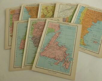 8 Atlas pages/journalling/junk journalling/vintage/ephemera/scrapbooking
