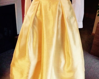 FIT AND FLARE Yellow  Midi  Dupioni Box Pleat Skirt with side pockets and zipper in the back Great for all occasions, great gift idea.