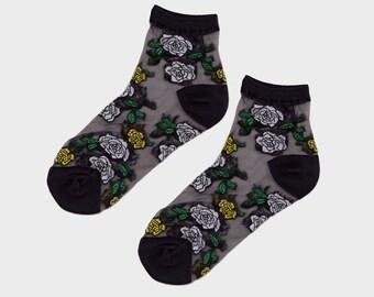Midnight Floral Sheer Socks