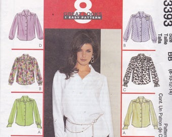McCalls 3393 Vintage Pattern Womens Button Up Top in 8 Variations Size 8,10,12,14 UNCUT