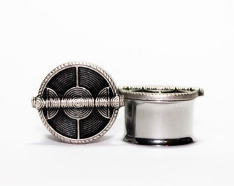Clearance: Wicker Shield Plugs, gauges, in Nickel    1/2, 9/16, 5/8, 3/4, 7/8