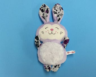 PROMO plush rabbit lilac minky, cotton and wool felt, Easter, gift for daughter gift