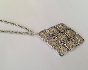 Vintage D'Orlan 1970s Long Length Silvertone Pendant Necklace.