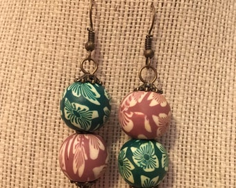 16mm Green&Brown Floral Double Clay Bead Earrings