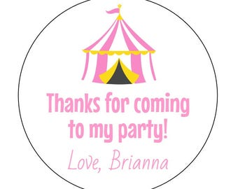 12 Pink Circus Tent Stickers, First Birthday, Circus Theme, Circus Stickers, Tent Labels, Circus Birthday, Baby Shower, Birthday Stickers