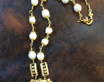 Sparkling Gold and Rhinestone Necklace