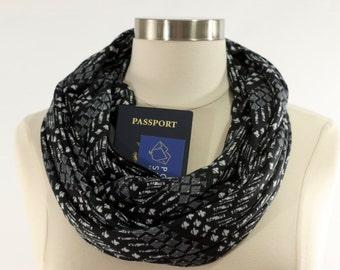 Black and Grey Chevron Infinity Pocket Scarf, Fall Scarf, Christmas Gift, Black Scarf, Travel Scarf