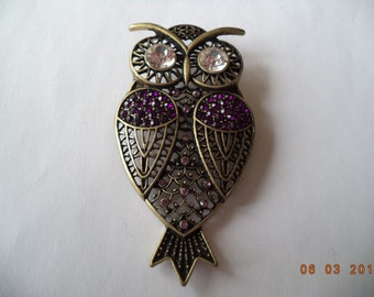Vintage Unsigned Large Bronzetone/Red Rinestone Owl Brooch/Pin  Clear Eyes