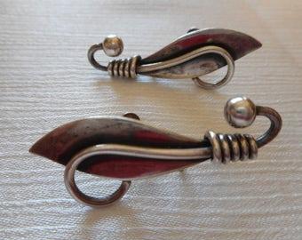 Sterling Silver Vintage Taxco Sterling Earrings Hecho En Mexico Unique Screw Back Earrings ,