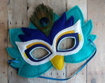 Peacock Felt Mask, Elastic Back, Teal, Blue and White Acrylic Felt with Embroidery and Feather, Cosplay, Costume, Photo Booth Prop