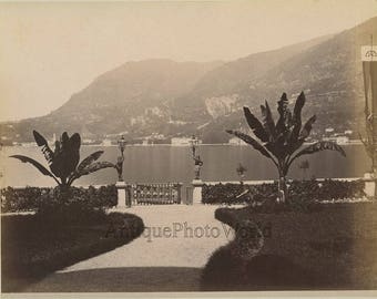 Italy Lake Como view from porch antique albumen photo by Nessi
