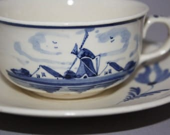 Blue Delft Cup and Saucer with Windmill Scene and Flowers made in Holland Mid Century