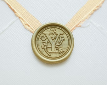 Y letter wax seal, Y initial sticker, wedding monogram seal