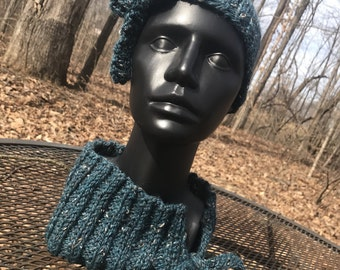 Tie-tab Hat and Cowl Set