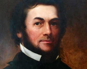 Civil War Era 1861 Oil on Canvas American Shepard Alonzo Mount Portrait of a Long Island Federal Soldier Smithsonian Listed artist