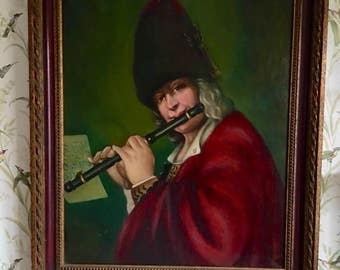 Early 20thC Oil Painting on Canvas European Flute Man by Mary Roberts Ebert American 1873-1956