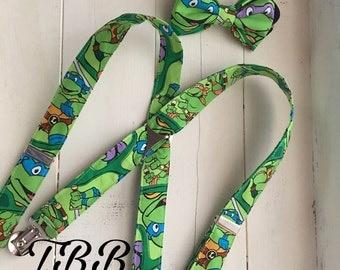 Ninja turtles suspenders and bow tie set