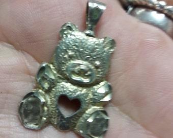 Sterling Silver Bear Heart Pendant