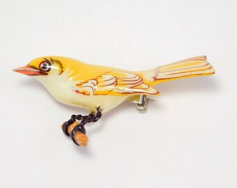 Pretty Takahashi Bird Yellow Hand Painted Pin