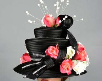 Black Wedding Hat Head Piece Church Kentucky Derby Hat Satin Bridal Coctail Hat Couture Fascinator  Bridal Hat
