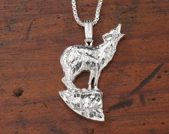 "Sterling Silver Howling Wolf Pendant, Hand Cut Sterling Silver Wolf Medallion, Wild Life Jewelry, 7/8"" in Diameter, ( # 604S )"