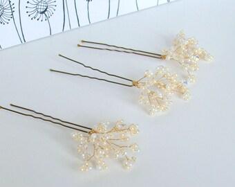 Babys Breath Wedding Hair Pins, Bridal Hair Pins, Hair Pin Set, Hair Accessory, Pearl Hair Pins, Wedding Headdress, Bridal Hair Picks,