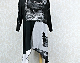 Plus Size 1X Tunic,Upcycled Clothing,Black Grey White,TShirt Top,Plus Size Clothing,Boho Tunic,Eco Fashion,Repurpose Couture,Womens Tunic