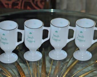 "Vintage ""IRISH COFFEE"" Mugs White Glass Pedestal"
