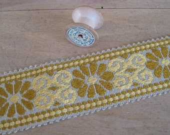 Wide braid, woven taupe yellow mustard flower pattern trim, unused French haberdashery passementerie
