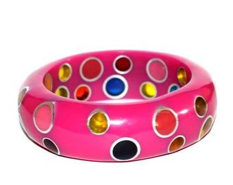 Vintage Multicoloured Retro Bangle. Vintage Bangle. Pink Bangle. Mod Bangle. Vintage Bracelet. Plastic Bangle. Retro Bangle. Lucite Bangle