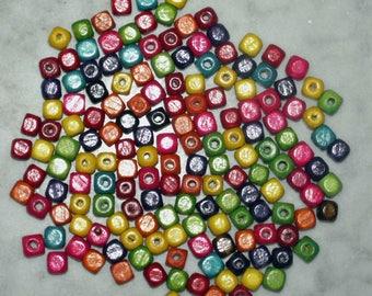 100pcs colorful wood beads, cube 8 x 8 mm