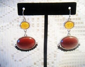 NRT Earth Tone Autumn Cabochon Earrings Fall Harvest Costume Jewelry Amber Cinnamon Boho