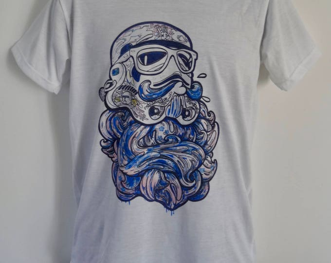 Men's Blue Bearded Geek Stormtrooper T-Shirt - Tattoo Darth Vader Beard Alternative - UK S M L