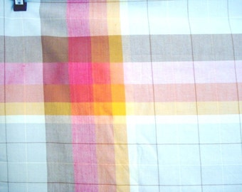 Eames era tablecloth windowpane check Fiesta colors vintage linens 60 inches excellent condition
