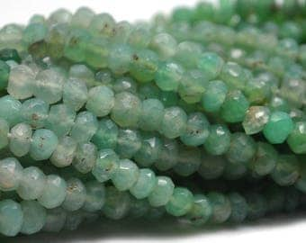 "25% OFF 1 Strand Chrysoprase Micro Faceted Rondelle 3-4mm 13"" Length AAA Quality Gemstones 100 Percent Natural.(RLCP-70002)"