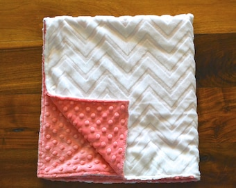 Coral and White Chevron Blanket - Ultra Soft Minky Blanket - Personalized Coral and White Baby Blanket
