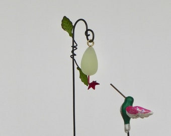 Miniature Hummingbird Feeder glow in the dark, miniature hummingbird stake, supplies for fairy garden, miniature garden accessory