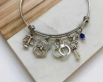Law Enforcement Bangle Bracelet Gift - Lady Justice Scales - Police Officer Cop Gifts for Her