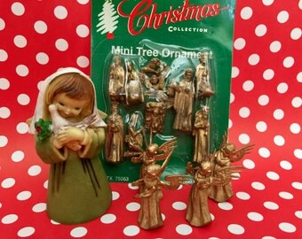 Vintage Miniature Nativity Set Angel Ornaments Gold Minuature Angels Kitschy Christmas Panorama Craft Kitsch