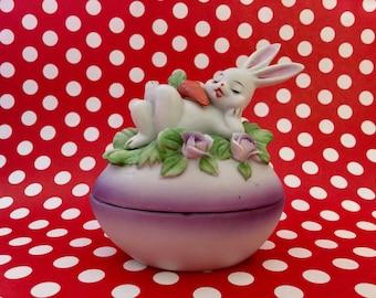 Porcelain Easter Bunny Trinket Dish Ceramic Easter Figurine