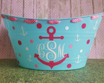 Personalized Basket , Toy Basket, Storage Bucket with Anchor