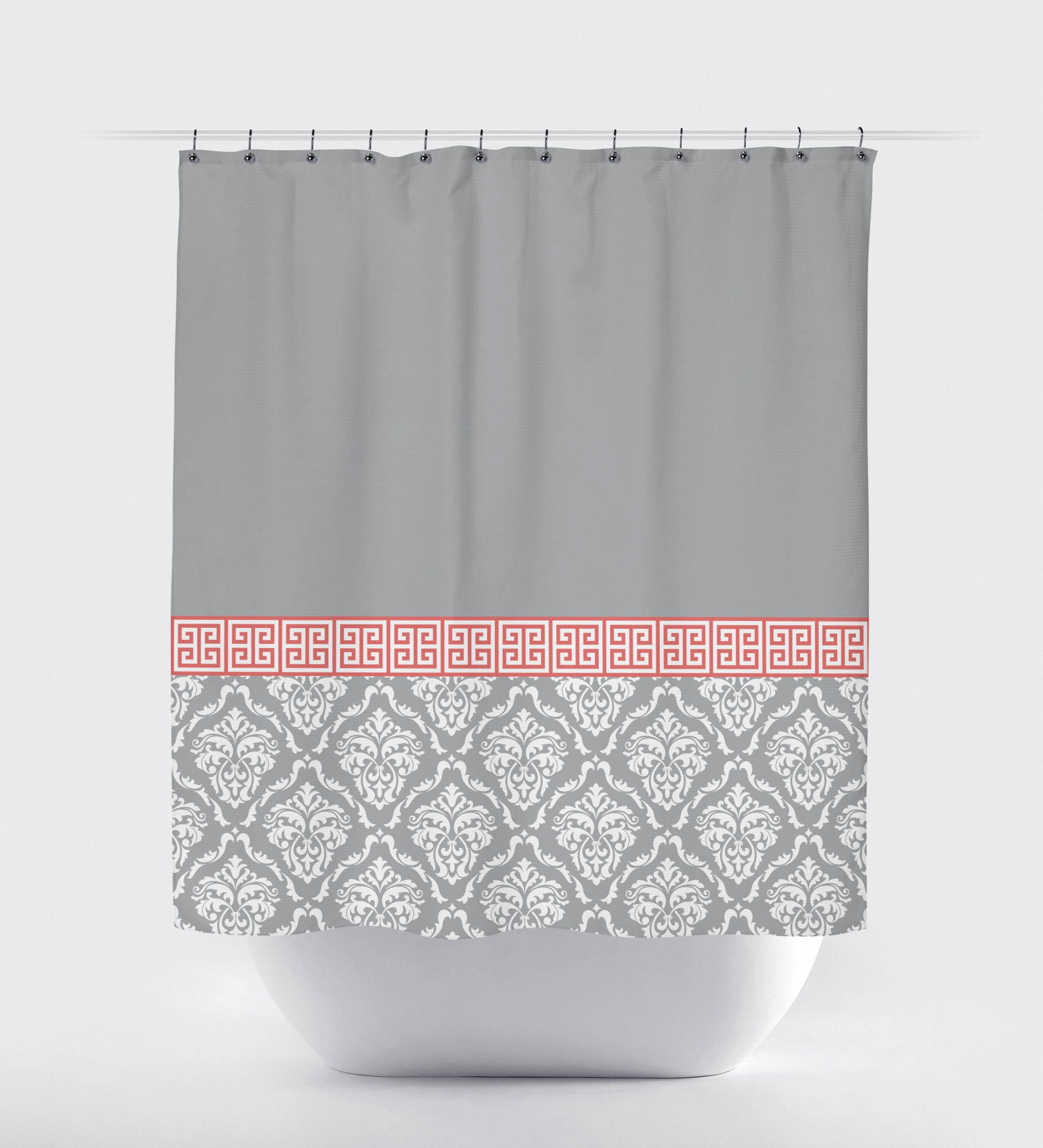 gray and orange shower curtain. Damask And Greek Key Shower Curtain Dark Grey Orange White OR Glamorous Contemporary  Best