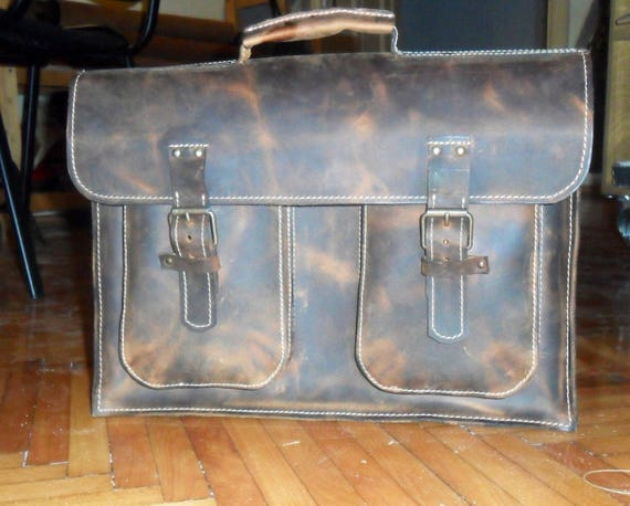 Minimalist 15 inch laptop Office Leather Briefcase, One compartment Office Briefcase, Handmade Bag, Handmade Briefcase