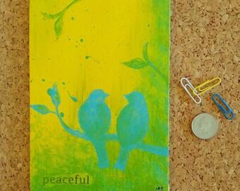 Bird painting, peaceful, bird art, gift for home, wall decor, home decor, original art, 5 x 7 art